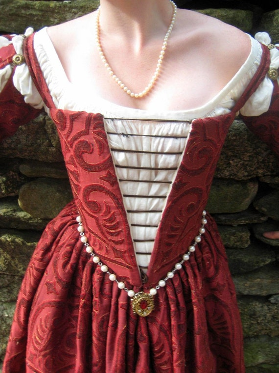 Venetian Renaissance Gown and chemise in Custom size and Fabrics