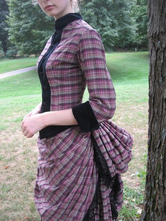 Victorian Bustle Day Dress in cotton plaid with black velvet trim, size sml