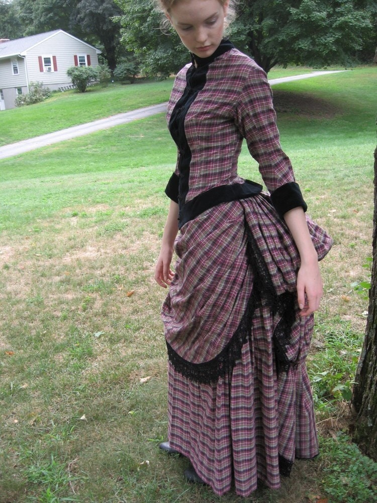 Victorian Bustle Day Dress in cotton plaid with black velvet Victorian Bustle Gowns