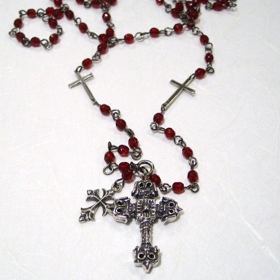 Cross Necklace Rosary Style