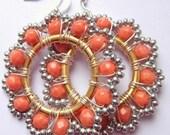 Orange Hoop Earrings, Beaded Earrings, Big Large Statement Jewelry, colorful, burnt orange jewelry, wire wrapped earrings, bohemian beadwork