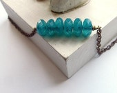 Turquoise Necklace Beaded on Copper Chain by Bohemia Jewellery on etsy