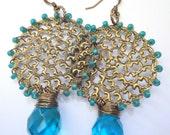 Dangle Earrings, Teal, Beaded Earrings, Filigree, Copper Metalwork, Briolettes, Bohemia Jewelry,