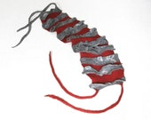 RESERVED Handmade wool felted scarf Goffer in red and grey