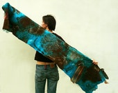 Women nuno felted wrap scarf Turquoise Chocolate OOAK