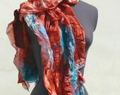 SALE Nuno Felted silk scarf wrap stole  Wild Berry  Sea Green Blue OOAK