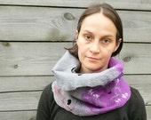 Wool felted scarf Cowl Grey Purple