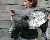 Women nuno felted scarf wrap Black and white OOAK
