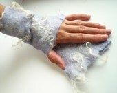 Arm warmers wool felted fingerless gloves Lilac white curly gifts under 50