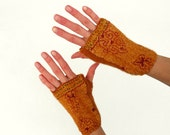 Nuno felted arm warmers fingerless gloves Mustard Ethnic - JaneBoFelt