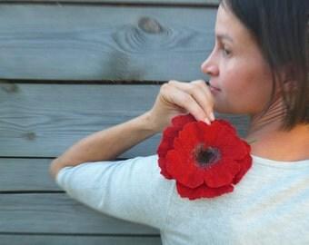 Brooch flower felted Red Poppy