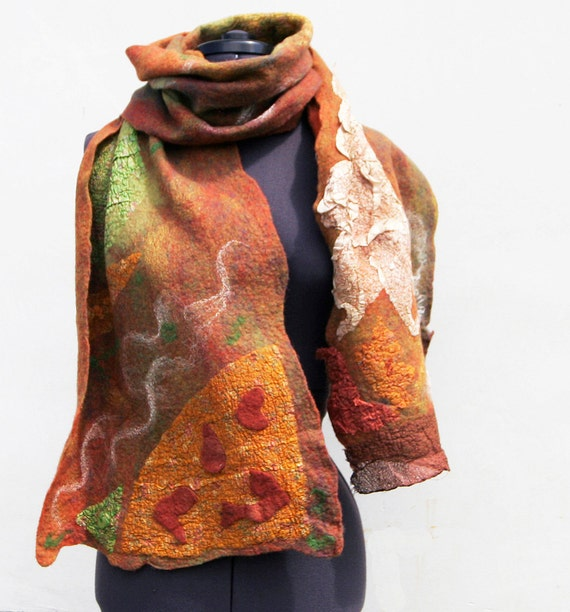 SALE Nuno felted Wrap  Scarf  Dancing Fall OOAK