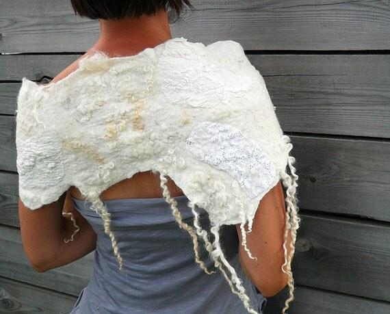Women scarf wool nuno felted Ivory white