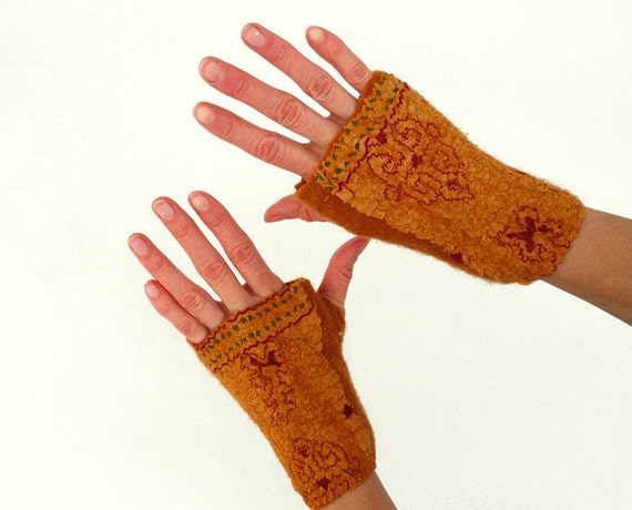 Nuno felted arm warmers fingerless gloves Mustard Ethnic
