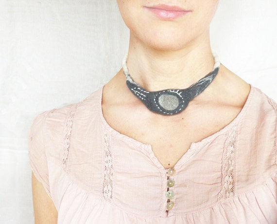 Wool felted beach stone embroidered Necklace Grey