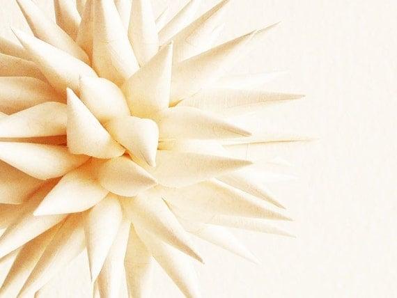 French Vanilla Paper Star Urchin Ornament Creamy Handmade Folk Art Decoration - 4 inch
