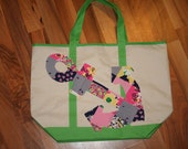 Anchor tote bag made with Lilly Pulitzer Ain't no lady patch fabric