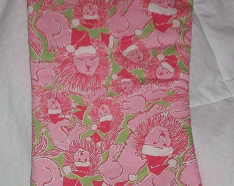 Christmas Stocking made with rare Lilly Pulitzer Santa Lion fabric-please read deccription to choose stocking style