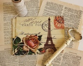 Vintage Style Postcards - 100% Recycled - Set of Six - Paris and Peach Rose