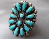Antique Zuni Sterling Size 6 Petit Point Turquoise Ring