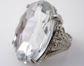 HALF OFF SALE ---- Huge Vintage Cocktail Adjutstable Silvertone Ring with Giant Faceted Deco Paste Stone