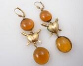 SALE ----- Vintage Vermeil Arrowed Heart & Triple Dangling Art Glass Bead Earrings