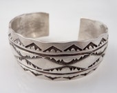 RESERVED for  lzahedan ---- Vintage Navajo Sterling Stamp Decorated Cuff Bracelet by Darin Bill