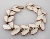 SALE --- Vintage White Enamel Double Petal Link Bracelet