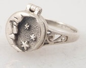 RESERVED for Tanzerin4 - Size 8 Vintage Crescent Moon and Stars Sterling Poison Ring