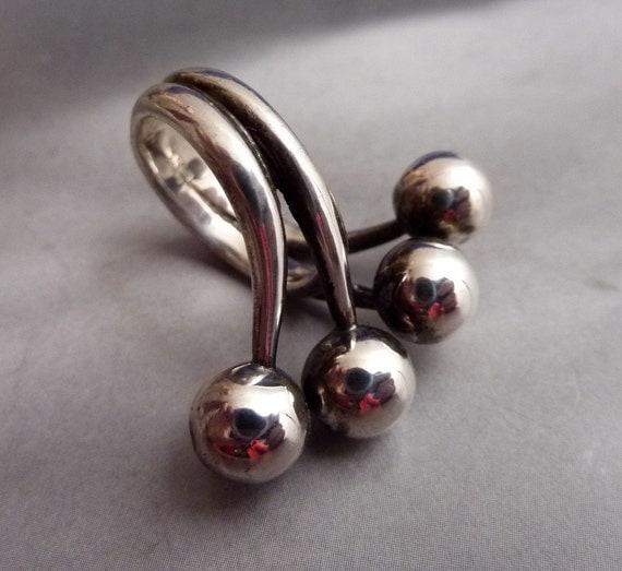 SALE --- Vintage Joachim S'Paliu Sterling Silver Size 6 1/2 Modernist Ring