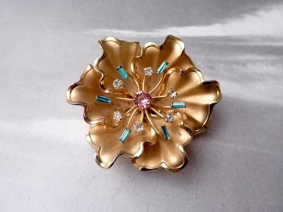 SUPER SALE --- Vintage Large Goldtone Pink Blue and Clear Rhinestone Flower Brooch