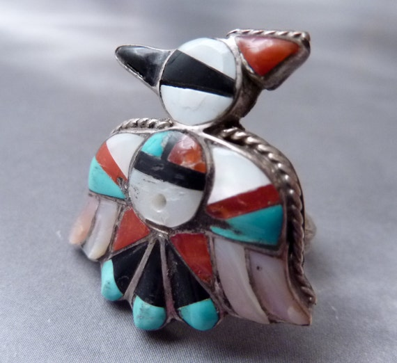 SALE --- Antique Sterling Zuni Inlay Size 7 1/4 Bird Ring