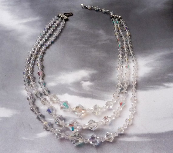 SUPER SALE --- Vintage Graduated Irridescent Glass Bead Triple Strand Necklace with Rhinestone Clasp