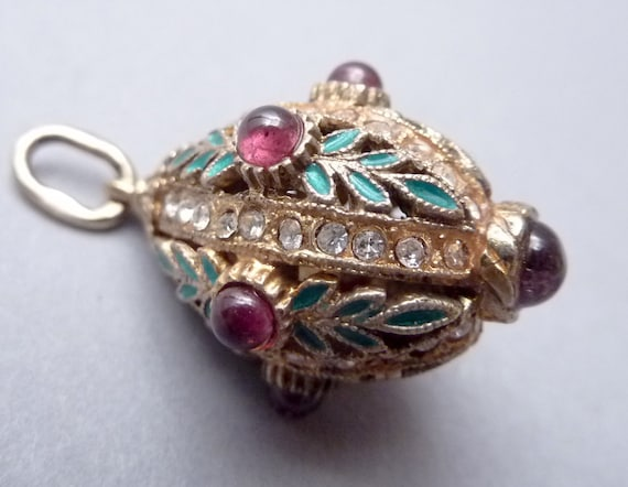 Antique Sterling Enamel & Bejewled Faberge Egg Style Pendant