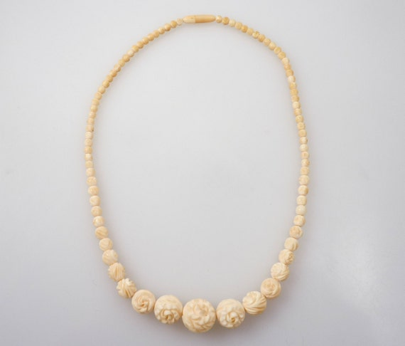 Antique Carved Ivory Rose Bead Necklace