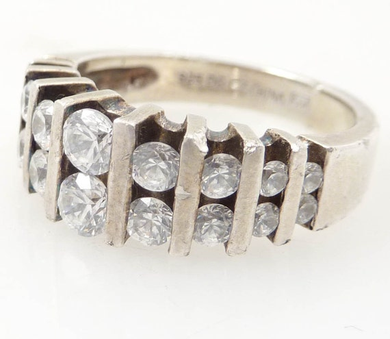 SALE --- Vintage size 7 Sterling and Double Decked Cubic Zirconia Engagement Ring