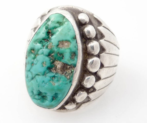 Vintage Native American Turquoise Sterling Power Ring size 10.75