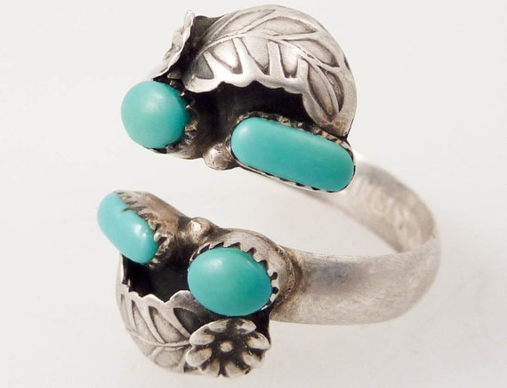 SALE ---- Vintage P.D. Coonsis Sterling and Turquoise Adjustable Zuni Ring