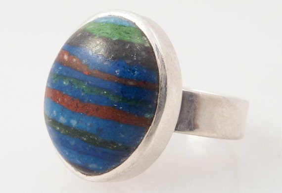 SUPER SALE ---- Size 7 Vintage Rainbow Rock Composite Sterling Ring