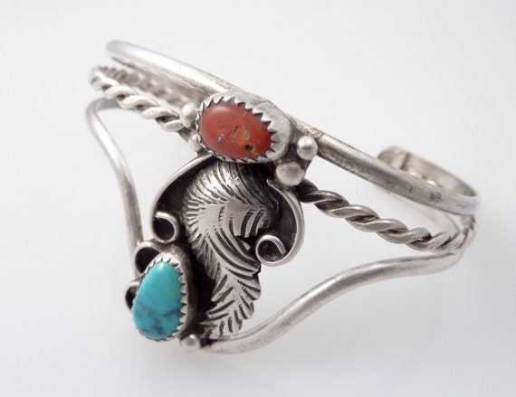 Vintage Native American Sterling with Turquoise and Coral Leave Cuff