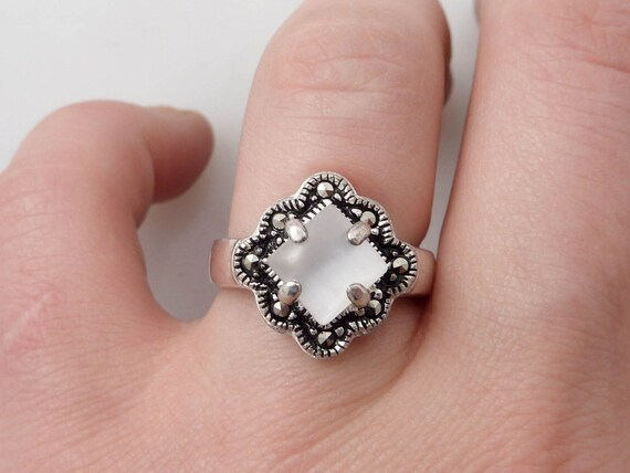 SUPER SALE ----- Size 7.25 Pearly White Stone and Marcasite Sterling Ring