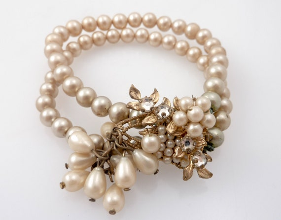 RESERVED for emeraldeyes1 - Antique Double Row Pearl Bracelet with Rhinestone Flower Accents Possibly Miriam Haskel