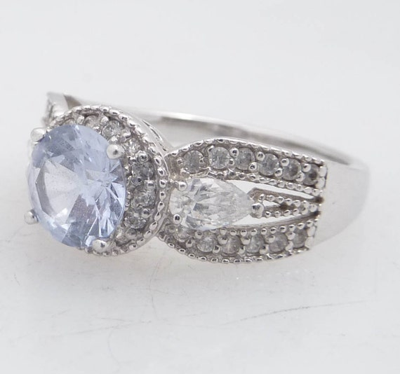 RESERVED for daniellesirois - Size 8.25 Pretty Baby Blue and Crystal Glass Sterling Vintage Ring