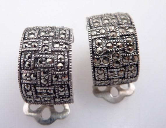 SALE ----- Vintage Sterling Demilune Marcasite Block Earrings