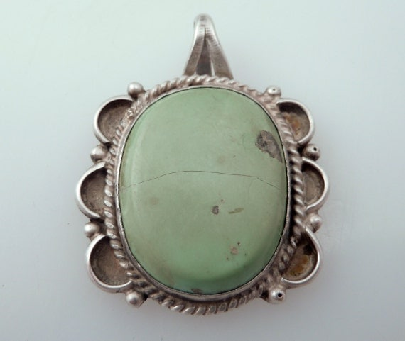 SALE ---- Antique Native American Sterling Pendant with Large Green Turquoise Stone