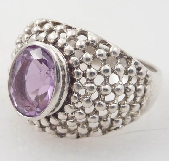 SALE ---- Size 10 Bursting Sterling Dots Vintage Amethyst Ring