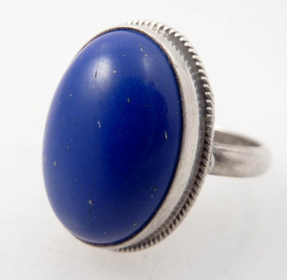 RESERVED for amandagu ---- Size 7.5 Cosmic Lapis Vintage Sterling Ring