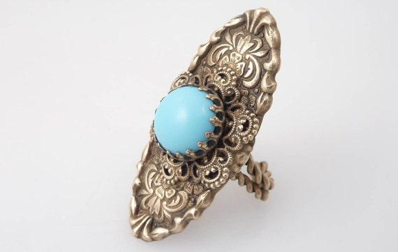 SALE --- Size 5 Adjustable West German Antique Lotus Decor Costume Ring