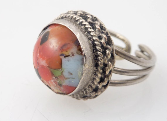 SALE --- Size 5.75 Vintage Adjustable Costume Ring with Multicolored Melted Glass Rocks