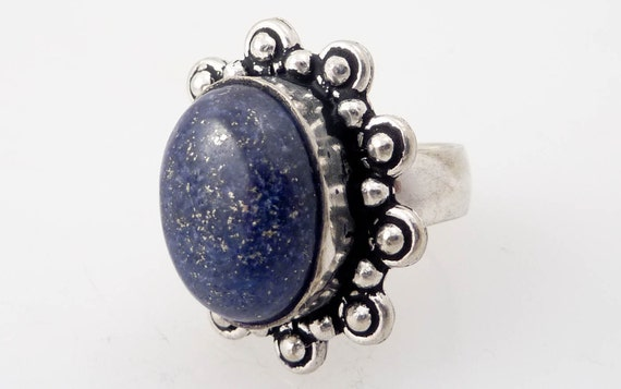 Size 6 Vintage Arabian NIghts Lapis and Sterling Ring